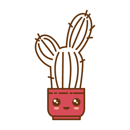 Pot with cactus plant  cartoon character illustration. Illustration