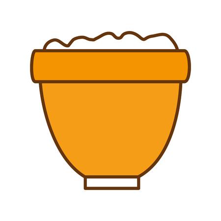 土壌イラストグラフィックデザイン要素を持つ植木鉢。