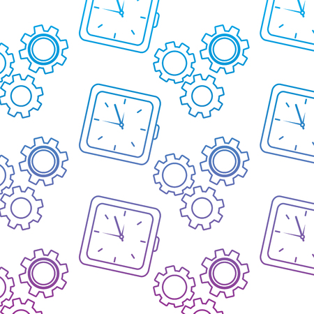 Clock with gears time icon image illustration design in blue to purple ombre line. Ilustração