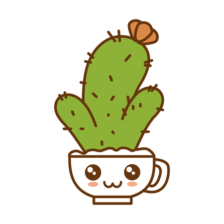 Cactus in pot, cute character illustration design.
