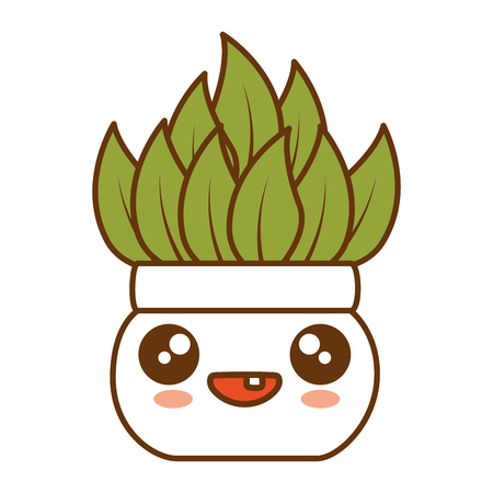 House plant in pot, cute character illustration design.