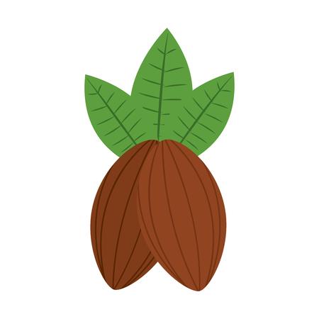Cacao fruit chocolade pictogram afbeelding vector illustratie ontwerp. Stock Illustratie