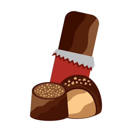 Chocolate bar with bites icon image vector illustration design. Illustration