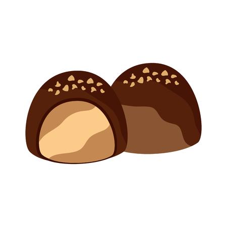 초콜릿 물린 아이콘 이미지 벡터 일러스트 레이 션 디자인.