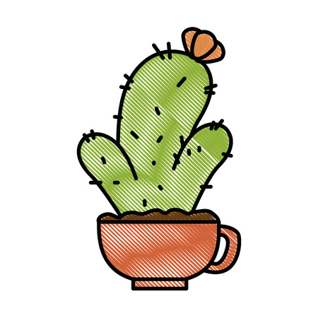 Pot with desert plant vector illustration design. Illustration