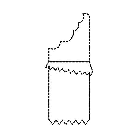 ●ラッパーアイコン付きチョコレートバー画像ベクトルイラストデザイン黒点線。