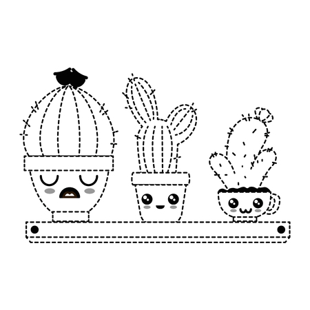 Pots with desert plants in shelf kawaii character vector illustration design.