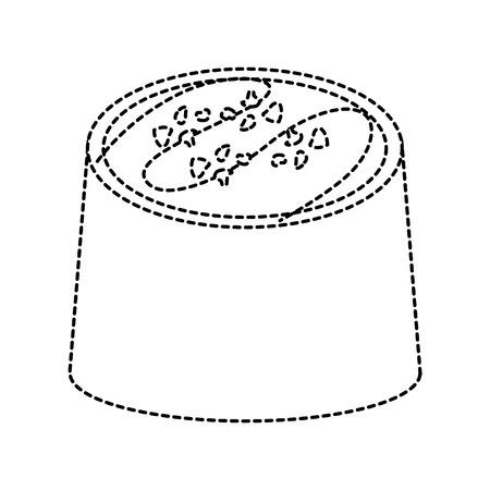 チョコレート一口アイコン画像ベクトルイラストデザイン黒点線。