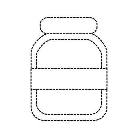 Glass jar icon image vector illustration design black dotted line.