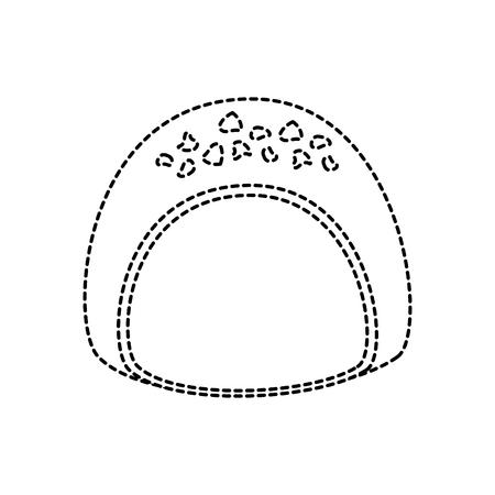 Chocolade gevulde pictogram afbeelding vector illustratie ontwerp zwarte stippellijn. Stock Illustratie