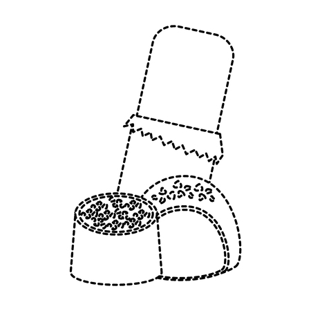 초콜릿 물린 아이콘 이미지 벡터 일러스트 레이 션 디자인 검은 점선. 일러스트