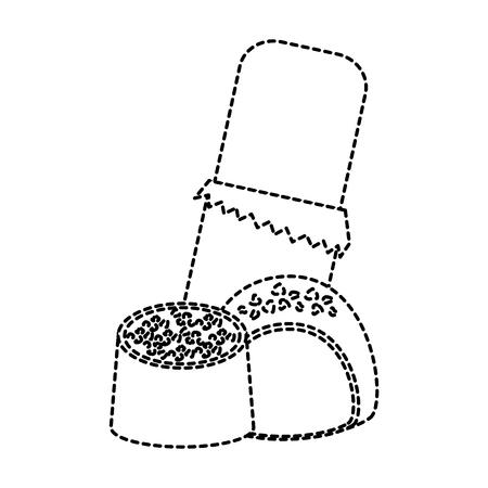 Chocoladereep met van het het beeld vectorillustratie van het betenpictogram de zwarte gestippelde lijn.