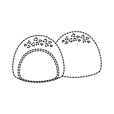 Chocolate filled icon image vector illustration design black dotted line.