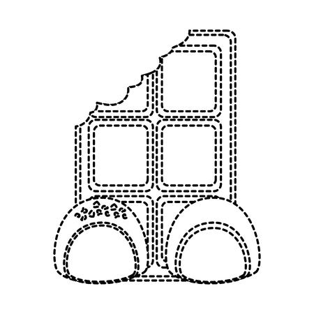 ●噛み付きアイコン画像ベクトルイラストデザインの黒点線付きチョコレートバー。