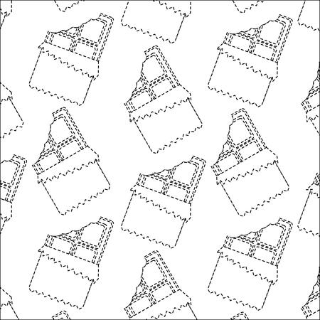 Chocoladereep met van het het beeld vectorillustratie van het omslagpatroon de zwarte gestippelde lijn. Stock Illustratie