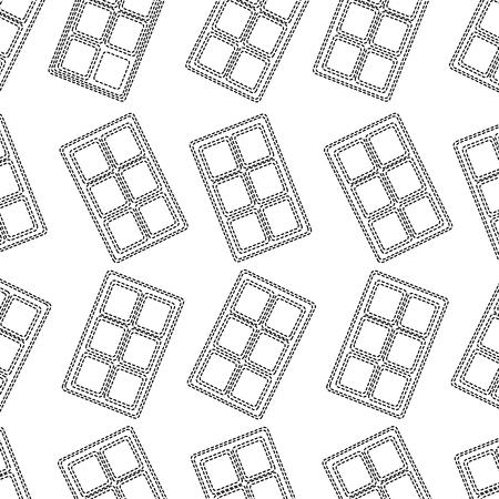 Chocolate bar pattern image vector illustration design black dotted line.