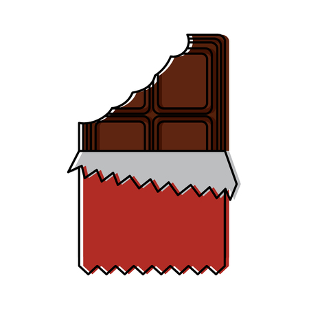 Chocolate bar with wrapper icon image vector illustration design Illusztráció
