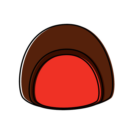 Chocolate filled icon image illustration design.