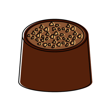 Chocolate bite icon image illustration design.
