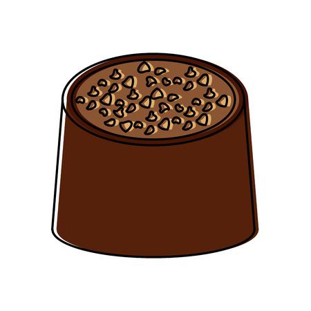 Chocolate bite icon image illustration design.