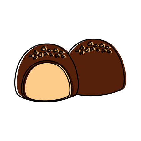 Chocolate filled icon image illustration design.