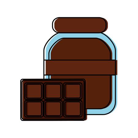 チョコレートスプレッドとバーアイコンイメージイラストデザイン。