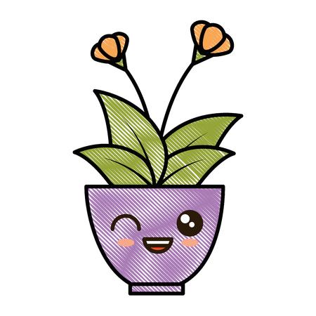 House plant in pot kawaii character vector illustration design. Illustration