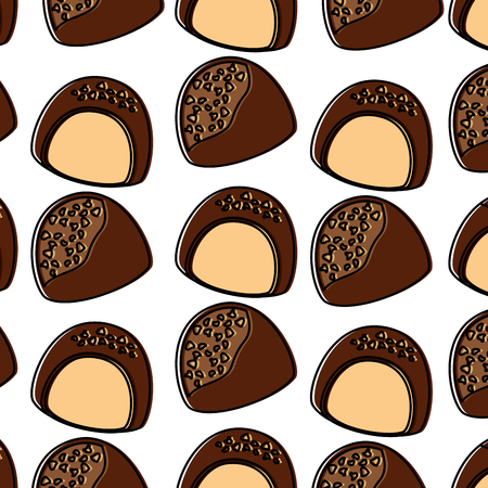 Chocolate bites pattern image vector illustration design.