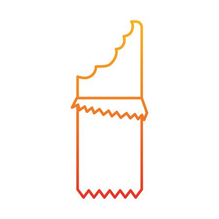 Chocoladereep met het ontwerp van de het beeldillustratie van het omslagpictogram in gele tot rode ombre-lijn.