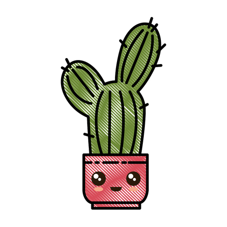 Pot with desert plant, cute character illustration design. Illustration