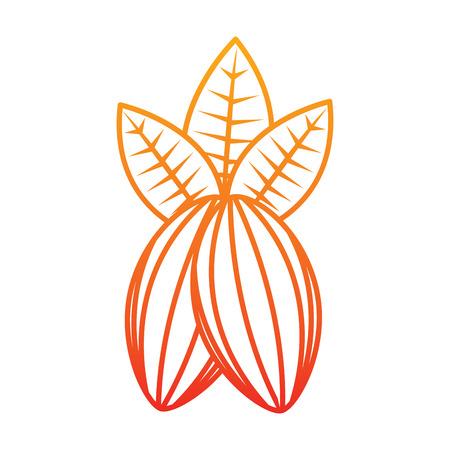 Cacao fruit chocolade pictogram afbeelding ontwerp in gele tot rode ombre lijn. Stock Illustratie