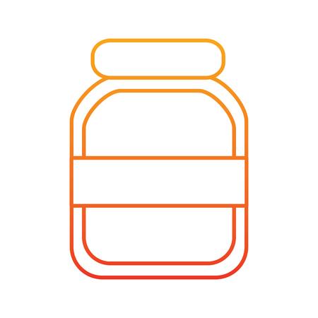 ●黄色から赤のオンブレラインに透明ガラス瓶アイコンイメージイラストデザイン。