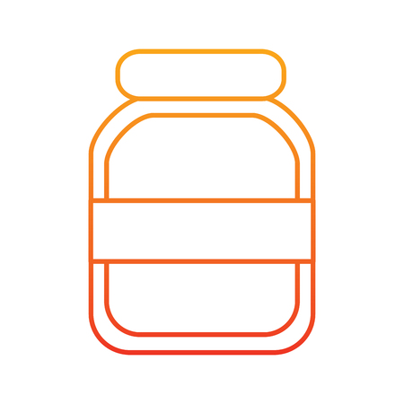 Transparent glass jar icon image  illustration design in yellow to red ombre line. Иллюстрация