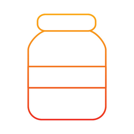 Transparent glass jar icon image illustration design in yellow to red ombre line. Illustration