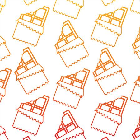 Chocoladereep met ontwerp van de het beeld het vectorillustratie van het omslagpatroon gele tot rode ombre-lijn.