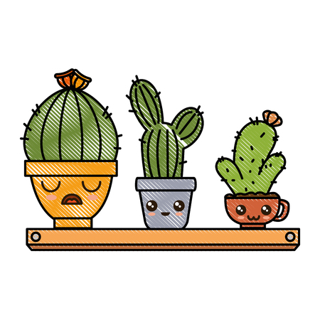 Pots with desert plants in shelf cute character illustration design. Illustration