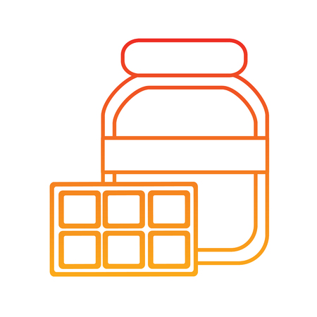 Pâte à tartiner au chocolat et bar design d'illustration icône image en ligne jaune à rouge ombre. Banque d'images - 92397537