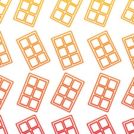●黄色から赤のオンブレラインにチョコレートバー柄イメージイラストデザイン。