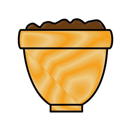土壌イラストデザインの植木鉢。  イラスト・ベクター素材