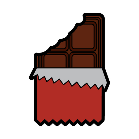 Chocolate bar with wrapper icon image  illustration design.