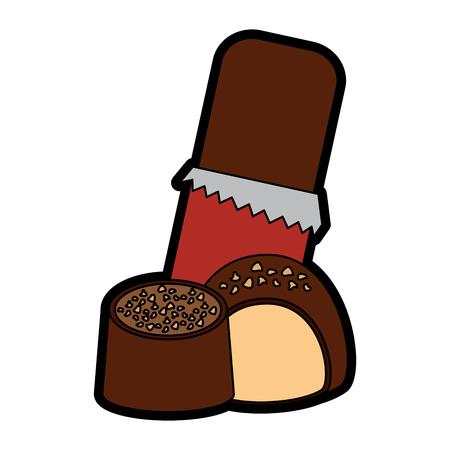 噛み付きアイコンイメージイラストデザインのチョコレートバー。  イラスト・ベクター素材