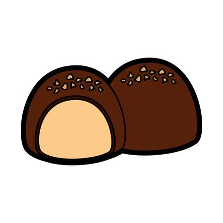 Chocolade gevuld vector de illustratieontwerp van het pictogrambeeld.