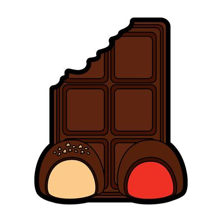 Chocolate bar with bites icon image illustration design.