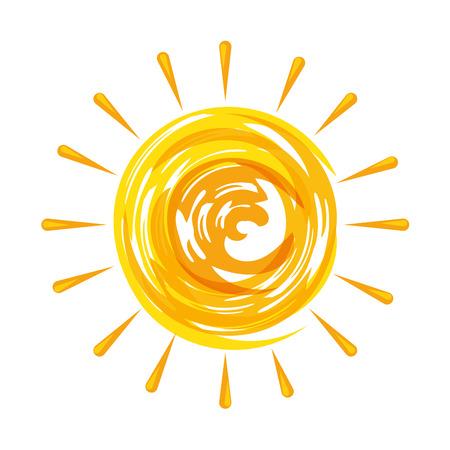 Summer sun painted icon illustration design.