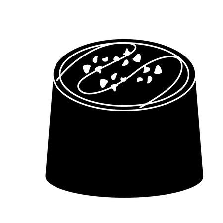 チョコレート一口アイコン画像ベクトルイラストデザイン。