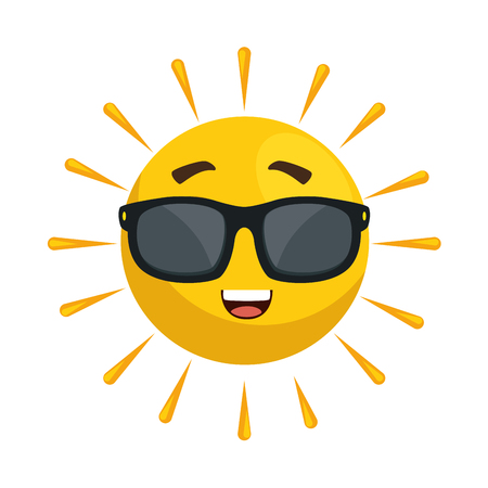 Summer sun wearing sunglasses, with face, happy,cute character illustration design. Illustration
