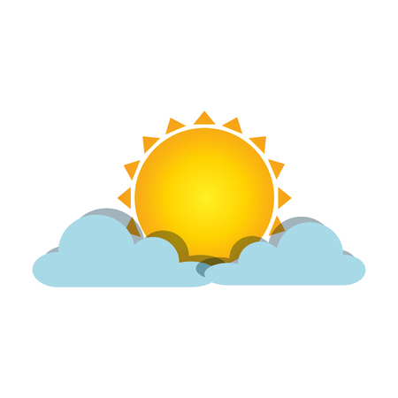 Summer sun with clouds illustration design.