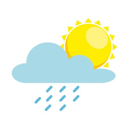 weather cloud rainy with sun vector illustration design