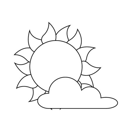 A summer sun with clouds vector illustration design