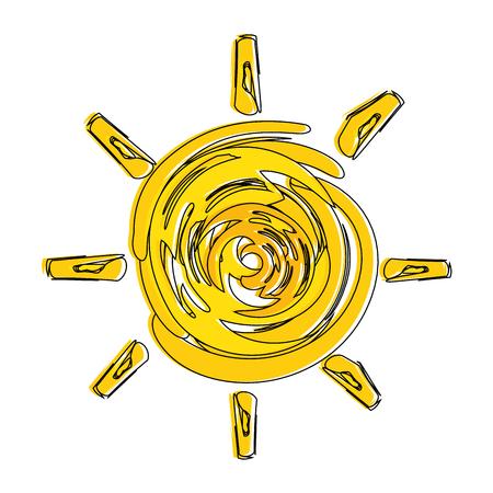 Summer sun painted icon vector illustration design